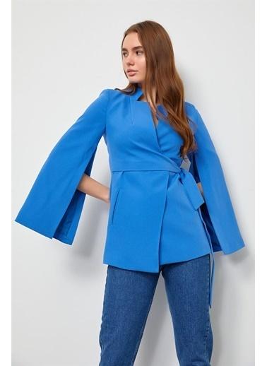 Setre Pembe Kruvaze Pelerin Ceket Mavi